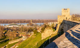 View on the Danube from Belgrade Fortress Royalty Free Stock Photos