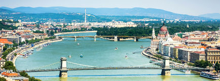View on Danube and Budapest Stock Photography