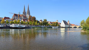View from Danube on Regensburg Cathedral and Stone Bridge Royalty Free Stock Photos