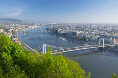 View of Danube river and Budapest from Citadella, Hungary Royalty Free Stock Images