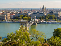 View of Danube River, Budapest, Hungary. View of Danube River and Chain Bridge, Budapest, Hungary Royalty Free Stock Photography