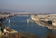 View of Danube River, Budapest, Hungary. View of Danube River with Szechenyi Chain Bridge and Margaret Bridge, Budapest, Hungary. February 2012 Royalty Free Stock Photography