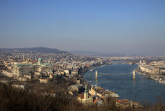 View of Danube River, Budapest. View of Danube River with Szechenyi Chain Bridge and Margaret Bridge, Budapest, Hungary Stock Photo