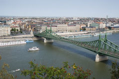 Danube river and Liberty Bridge Stock Images