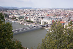 Bridge on the River and trees. View of the Danube river in the city of Budapest in Hungary Royalty Free Stock Image