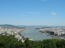 View of the Danube river from Gellert Hill. Amazing view of the Danube river and brides, and house of Parliament in Budapest , Hungary from Gellert Hill Stock Photo