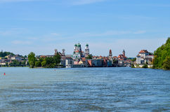 View from danube river to passau Royalty Free Stock Images
