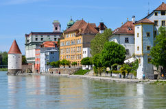 View from danube river to passau Stock Images