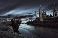 View of dark castle with dark sky. At night stock images