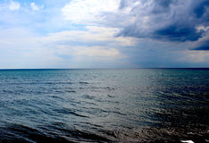 View of the dark sky and sea. Beautiful view of the dark sky and sea of the coast of the Black Sea Royalty Free Stock Images