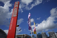 View of Darling Harbour signage Stock Photography