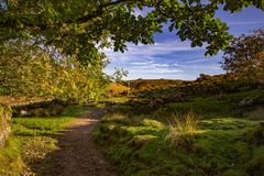 View of Dartmoor from the path to Wistmans Wood. A view of Dartmoor on the path to Wistmans Wood on a sunny September day with blue sky and clouds royalty free stock images
