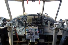 Dashboard old airplane royalty free stock photos