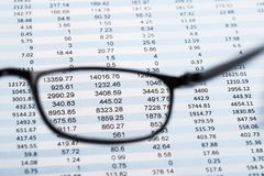 View Of Data Sheet From Eyeglasses Royalty Free Stock Photo