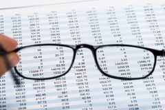 View Of Data Sheet From Eyeglasses Royalty Free Stock Photography