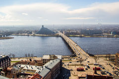 View of Daugava River, Library and Akmens Bridge Stock Image