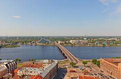 View of Daugava River in Riga, Latvia Royalty Free Stock Photo