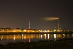 View of Daugavpils city at night. Water reflection Royalty Free Stock Images
