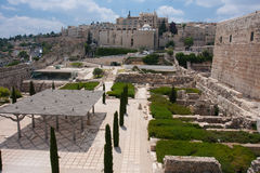 View of Davidson Center, Temple Mount Jerusalem Royalty Free Stock Images