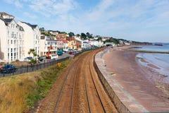 View of Dawlish Devon England with beach railway track and sea Stock Image