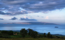 View at dawn of the islands Kahoolawe and Molokini from Maui Royalty Free Stock Images