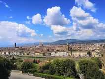 View day Florence Italy spring sunshine city travel Firenze trees river blue sky view stock photos