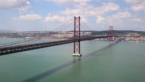 View on the 25 de Abril Bridge in Lisbon, Portugal. stock video