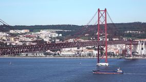 View on the 25 de Abril Bridge in Lisbon stock video footage