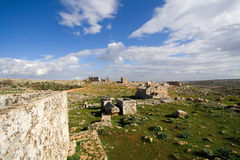 View of the dead city of Serjilla. Serjilla is one of the most famous dead cities in Syria. It is located about 7 km from Al Bara, and is famous for the stock images