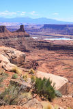 Dead Horse Point. View from Dead Horse Point Visitor Center. Colorado River cutting through becomes Meander Canyon. The bittom is Texas Gulf Potash Pond stock photography