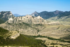 View from Dead Indian Pass. View of the mountains and valleys from Dead Indian Pass along the Chief Joseph Scenic Byway in Wyoming Royalty Free Stock Photo