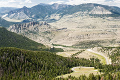 View from Dead Indian Pass. View of the mountains and valleys from Dead Indian Pass along the Chief Joseph Scenic Byway in Wyoming Stock Photo