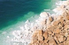 View of Dead Sea Coastline. View of the Dead Sea coastline. The Dead Sea is the deepest hypersaline lake in the world Stock Photo
