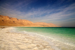 View of Dead Sea coastline Royalty Free Stock Images