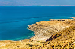 View of Dead Sea coastline in Israel Royalty Free Stock Images