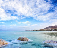 View of Dead Sea coastline at sunset, Israel Royalty Free Stock Images