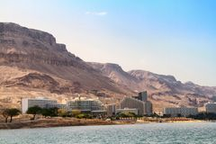 View of the Dead Sea hotels royalty free stock image