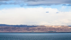 View of Dead Sea and Jerusalem in winter morning Royalty Free Stock Photo