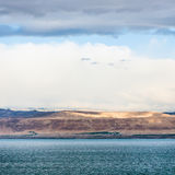 View of Dead Sea and Jerusalem on winter sunrise Royalty Free Stock Images