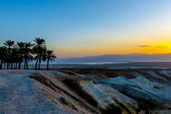 A view of the dead sea and mountains in the Negev desert. Israel Royalty Free Stock Photos
