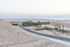 A view of the dead sea and mountains in the Negev desert. Israel Stock Photo
