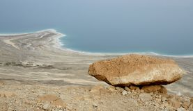 View of Dead Sea shore from the road in Judean desert, ,Israel Royalty Free Stock Photography