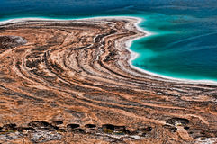 View of Dead Sea and sinkholes Stock Photography