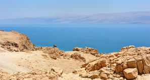 View of the Dead Sea from the slopes of the Judean mountains. Royalty Free Stock Photography