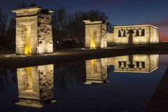 Debod Egyptian temple. View of Debod Egyptian temple at night in Madrid, Spain Royalty Free Stock Image