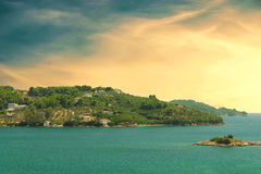 View from the deck of cruise ship on the coast of the Sporades a. Rchipelago. Greece. Toned image Stock Image