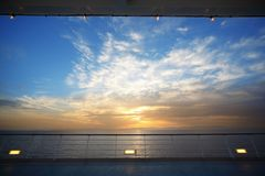 View from deck of cruise ship on evening Stock Photos
