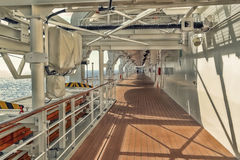 View on deck of the cruiser. Morning view on the large deck cruiser Stock Photography