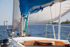 View on deck of sailing yacht Stock Photo