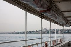 The view from the deck of the ship on the misty cloudy calm Bosphorus. Istanbul, Turkey stock images